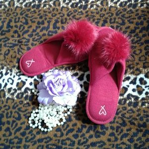 Victoria's Secret Red Pom-Pom Slippers